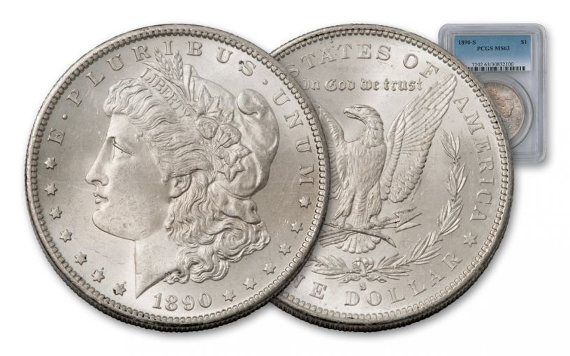 1890-S Morgan Silver Dollar NGC or PCGS MS63