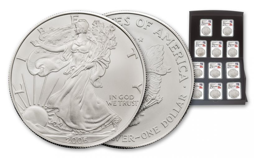 2006–2018 1-oz $1 Burnished Silver American Eagle 11-Piece Collection Set NGC MS70 - Mercanti Signed Labels
