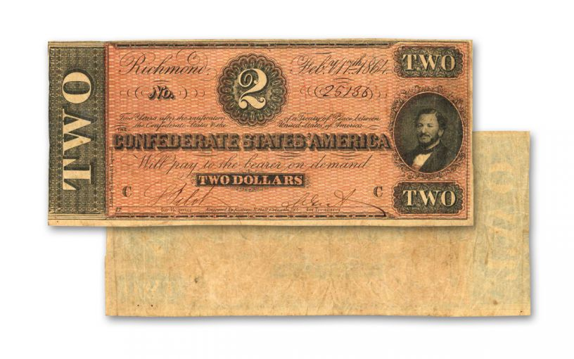 1864 $2 Confederate Paper Currency Note Fine