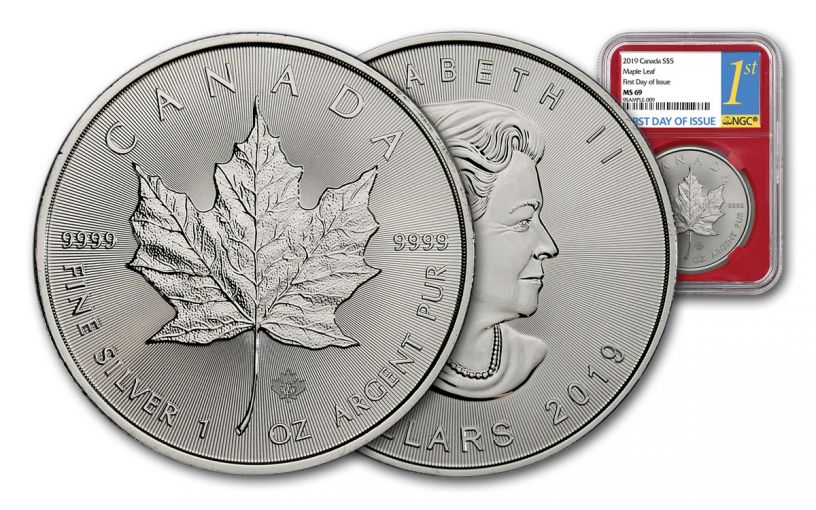 2019 Canada $5 1-oz Silver Maple Leaf NGC MS69 First Day of Issue - Red Core