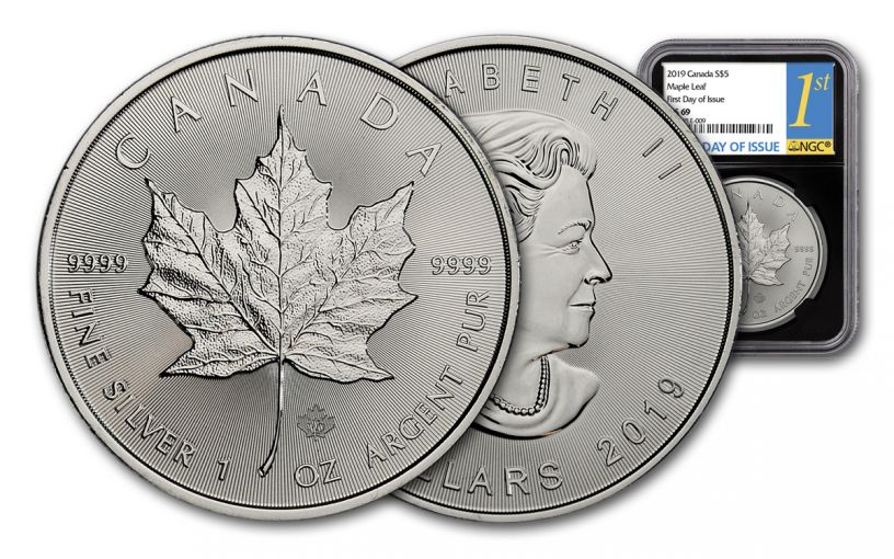 2019 Canada $5 1-oz Silver Maple Leaf NGC MS69 First Day of Issue - Black Core