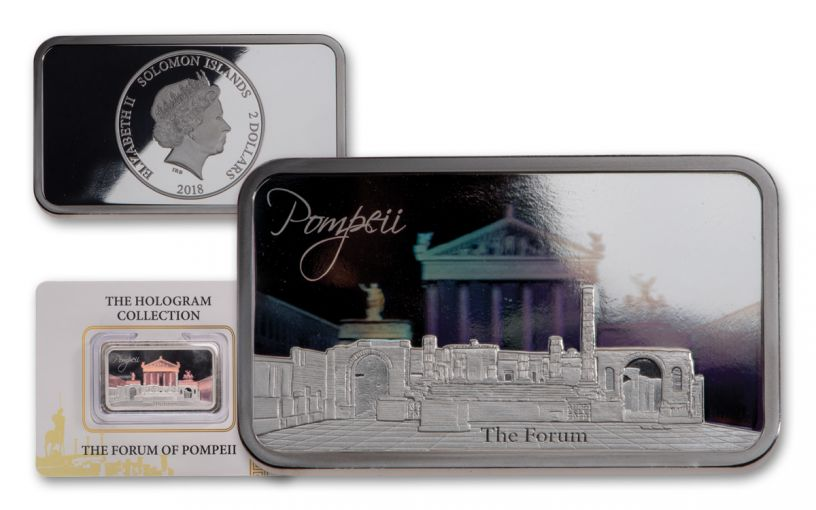2018 Solomon Islands $2 1-oz Silver Forum of Pompeii Hologram Proof