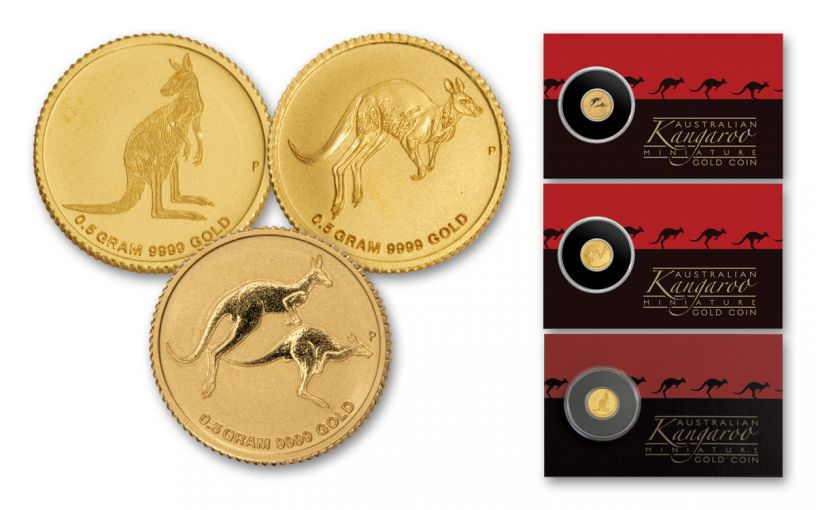 2016-2018 Australia $2 1/2-Gram Gold Kangaroo 3-Piece Set Uncirculated