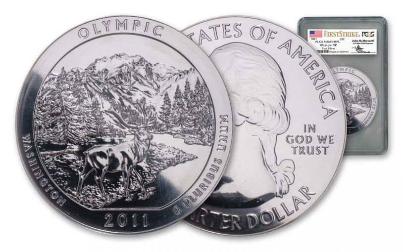2011-P Olympic National Park 5-oz Silver America the Beautiful Quarter PCGS MS69 DMPL First Strike - Mercanti Signed Label