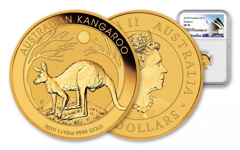2019 Australia $15 1/10-oz Gold Kangaroo NGC MS70