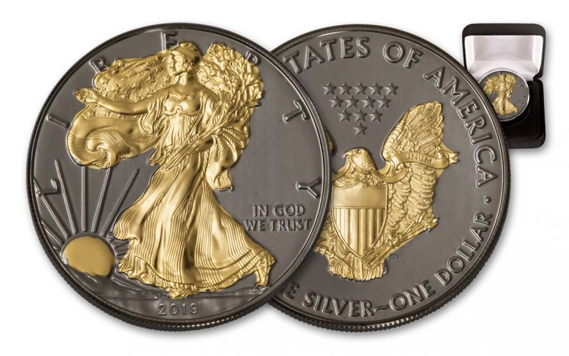 2019 $1 1-oz Silver American Eagle BU with Black Ruthenium and 24 Karat Gold