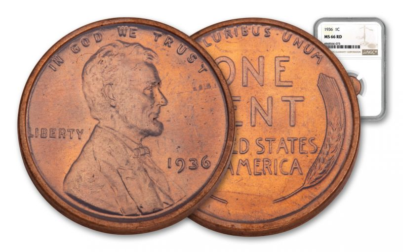 1936-P One Cent Lincoln NGC MS66 Red