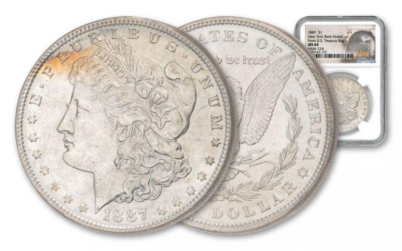 1887 $1 MORGAN VAM-12A NGC MS64 NY BANK HOARD