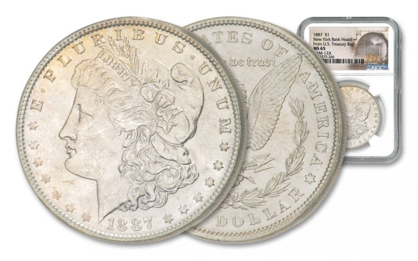 1887 Morgan Silver Dollar VAM 12A New York Bank Hoard NGC MS65