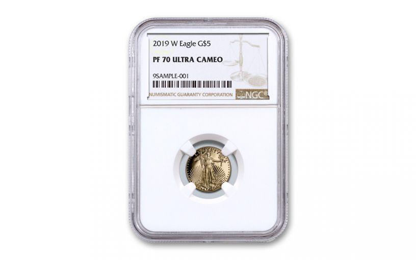 2019-W $5 1/10-oz Gold American Eagle NGC PF70UC