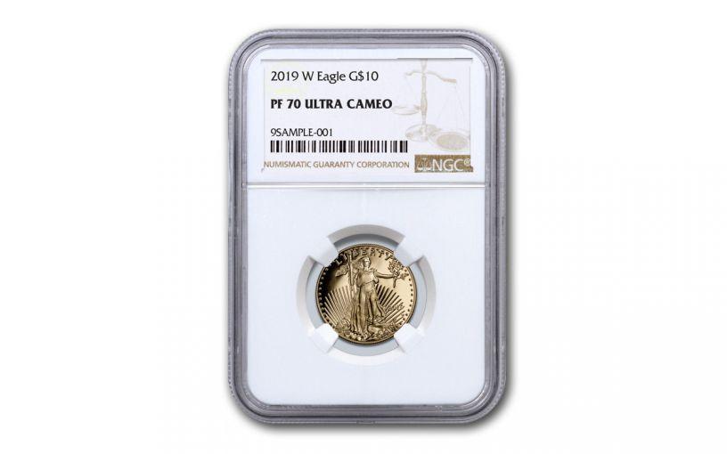 2019-W $10 1/4-oz Gold American Eagle NGC PF70UC