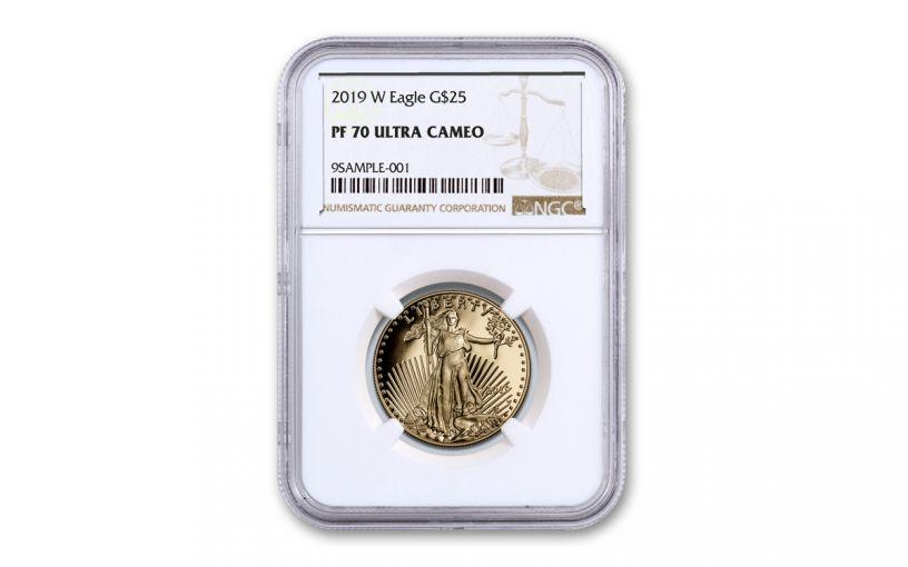 2019-W $25 1/2-oz Gold American Eagle NGC PF70UC