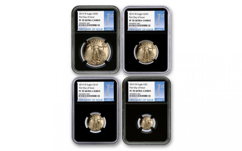 2019-W Gold American Eagle 4-Piece Set NGC PF70UC First Day of Issue - Black Core
