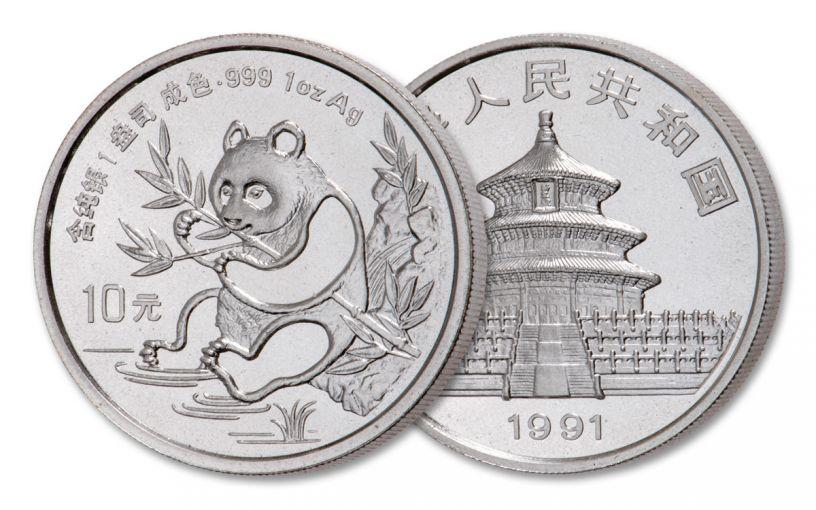 1991 China 1-oz Silver Panda BU