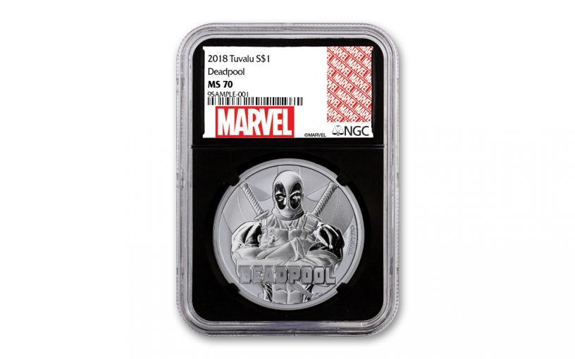 2018 Tuvalu $1 1-oz Silver Deadpool NGC MS70 w/Black Core