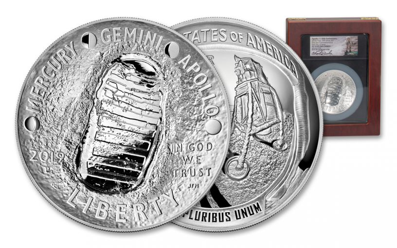 2019-P Apollo 11 50th Anniversary 5-oz Silver Dollar NGC PF70UC First Day of Issue - Charlie Duke Signed Label