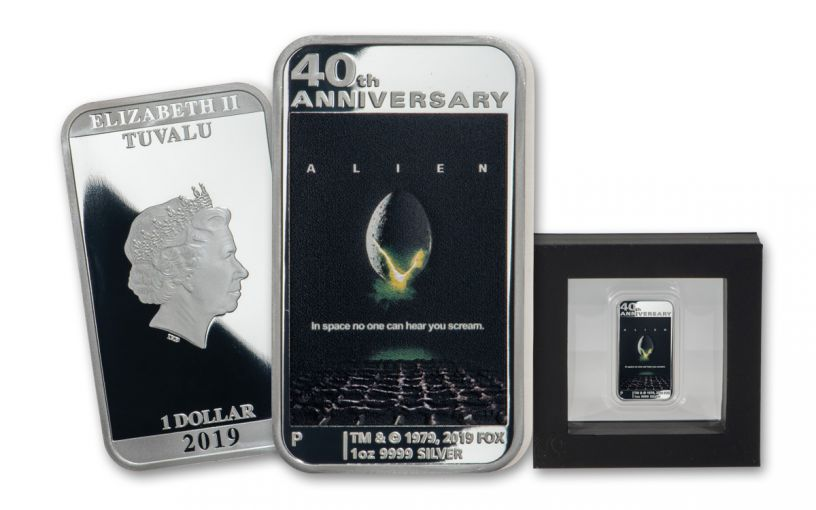2019 Tuvalu $1 1-oz Silver Alien 40th Anniversary Movie Poster Proof
