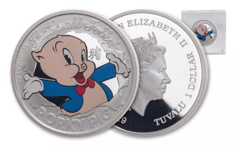 2019 Tuvalu $1 1-oz Silver Lunar Porky Pig Proof
