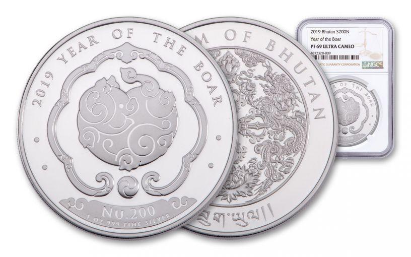 2019 Bhutan 1-oz Silver Lunar Boar NGC PF69UC