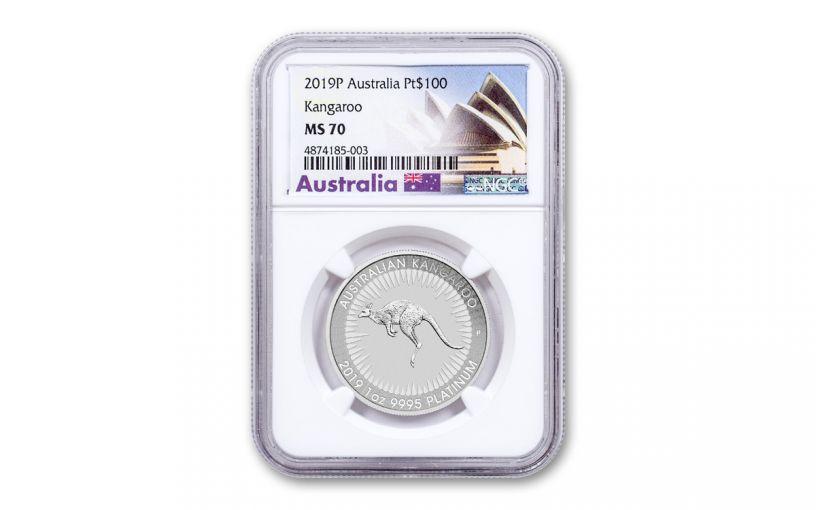 2019 Australia $100 1-oz Platinum Kangaroo NGC MS70