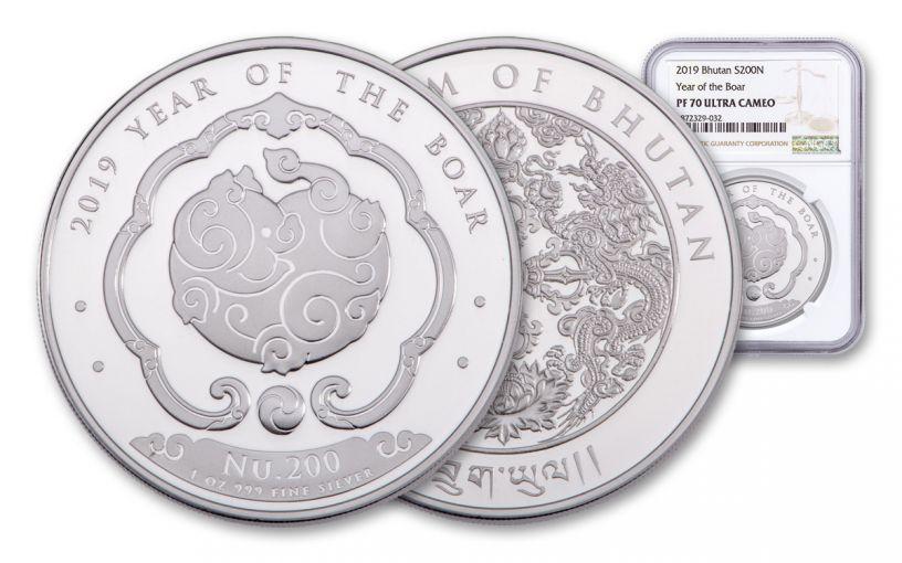 2019 Bhutan 1-oz Silver Lunar Boar NGC PF70UC