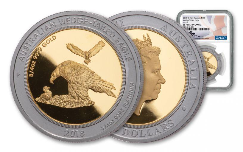 2018 Australia $150 1½-oz Gold & Platinum Bi-Metal Wedge Tailed Eagle NGC PF70UC - Mercanti Signed Label