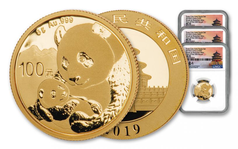 2019 China Gold Panda 3-Piece Prestige Mini Set NGC MS70 First Day of Issue - Shenzhen Mint, Fang Signature Label