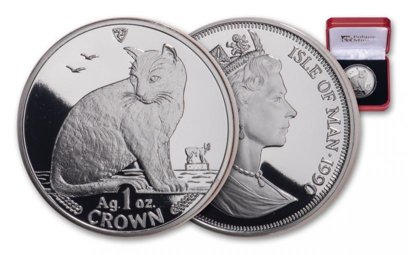 1990 Isle of Man 1-oz Silver Alley Cat Proof