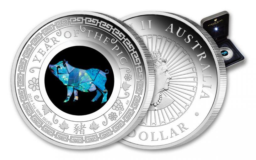 2019 Australia $1 1-oz Silver Lunar Year of the Pig Opal Proof