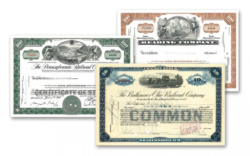 1940s-1970s Railroad Monopoly Stock Certificates 3-Piece Set
