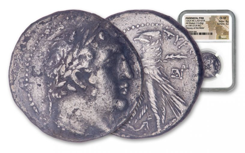 27-26 BC Ancient Phoenicia Silver Shekel of Tyre NGC Choice VF - Money of the Bible Year 100