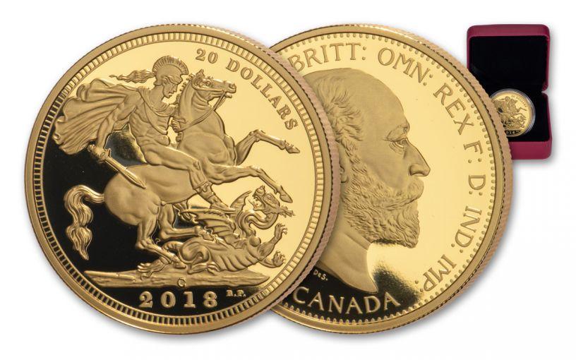 2018-C Canada $20 1-oz Silver 1908 Sovereign Design Gilt Proof