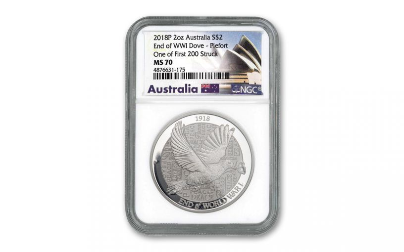 2018 Australia $2 2-oz Silver Piedfort Dove NGC MS70 One of First 200 Struck - Opera House Label