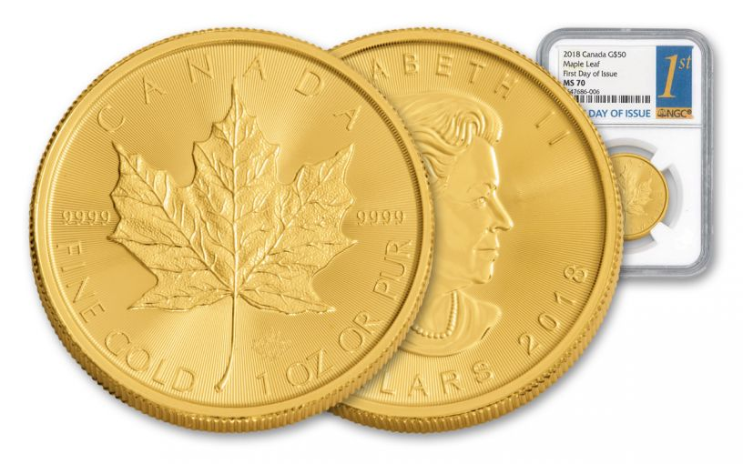 2018 Canada $50 1-oz Gold Maple Leaf NGC MS70 First Day of Issue