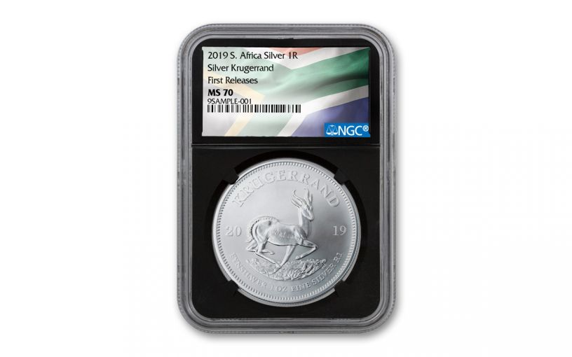 2019 South Africa 1-oz Silver Krugerrand NGC MS70 First Releases - Black Core, Flag Label