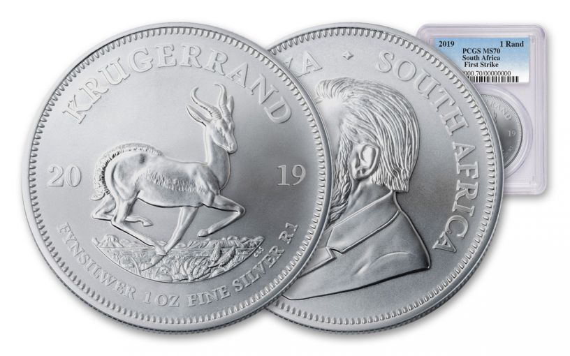 2019 South Africa 1-oz Silver Krugerrand PCGS MS70 First Strike, Blue Label