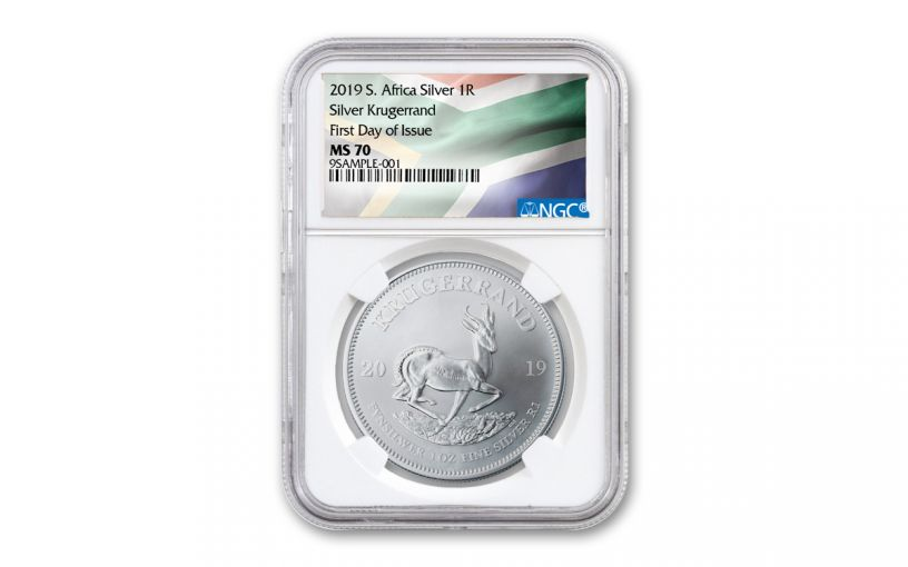 2019 South Africa 1-oz Silver Krugerrand NGC MS70 First Day of Issue - Flag Label