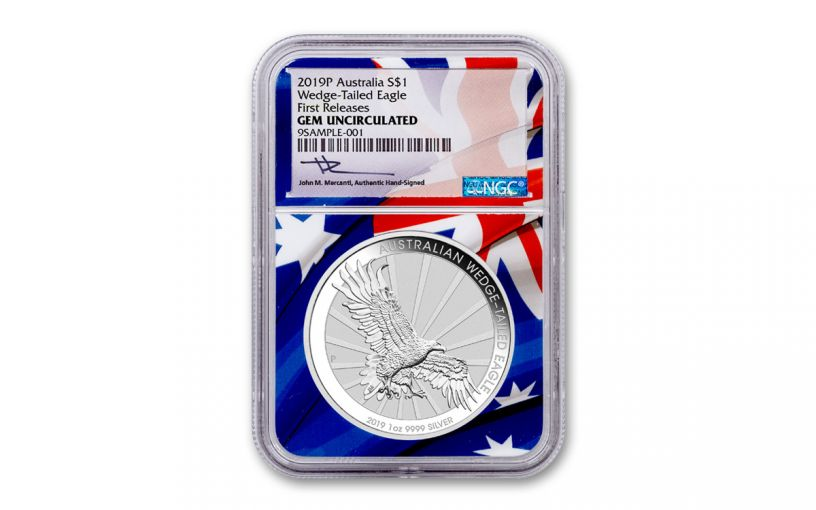 2019 Australia $1 1-oz Silver Wedge Tailed Eagle NGC Gem Uncirculated First Releases - Flag Core, Mercanti Signed Label
