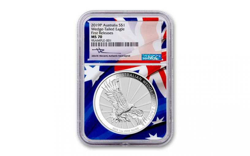 2019 Australia $1 1-oz Silver Wedge Tailed Eagle NGC MS70 First Releases - Flag Core, Mercanti Signed Label
