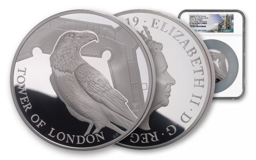 2019 Great Britain £10 5-oz Silver Tower of London Ravens NGC PF69UC First Strike