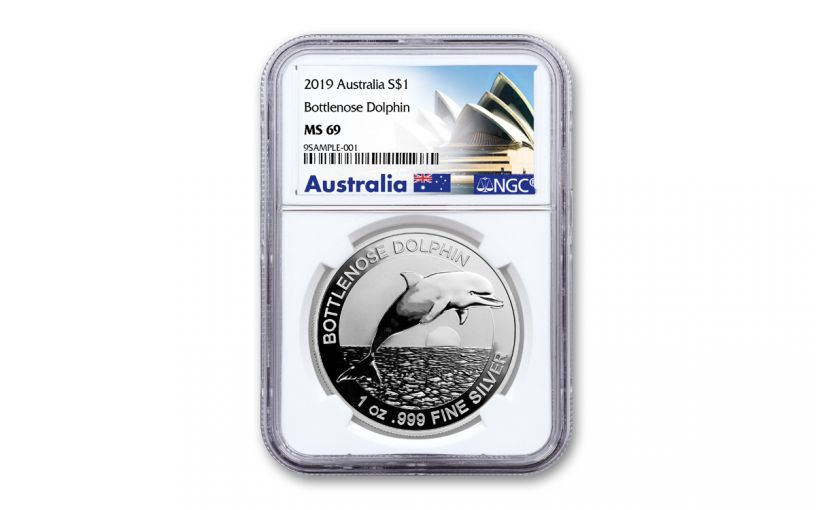 2019 Australia $1 1-oz Silver Bottlenose Dolphin NGC MS69 First Releases - Opera House Label