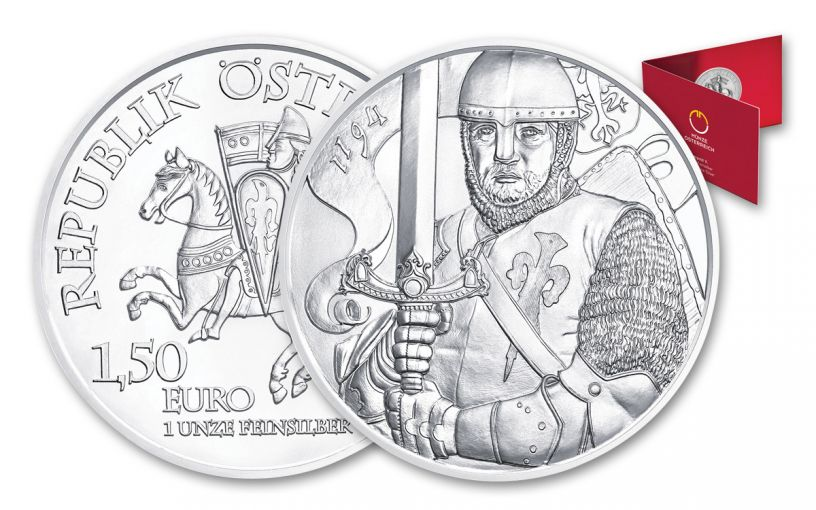 2019 Austria 1-oz Silver Duke Leopold V BU with Blister Pack Folder - 825th Anniversary of Vienna Mint