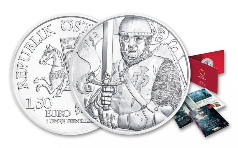 2019 Austria 1-oz Silver Duke Leopold V BU with Blister Pack Folder & Knights Tale Album - 825th Anniversary of Vienna Mint