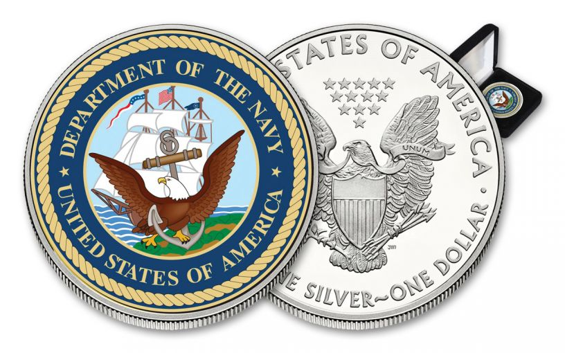 U.S. Armed Forces Navy $1 1-oz Silver American Eagle Colorized Commemorative BU