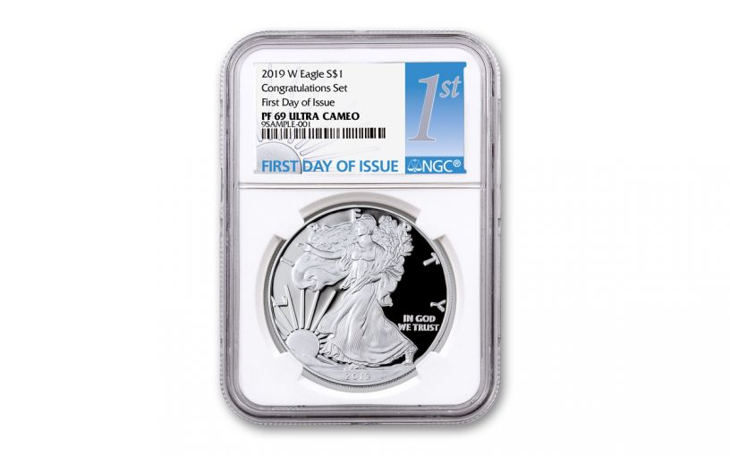 2019-W $1 1-oz American Silver Eagle Congratulations PF69UC First Day of Issue