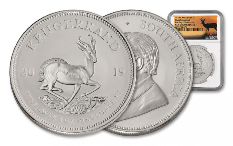 2019 South African 1-oz Silver Krugerrand NGC Gem Uncirculated First Day of Production - Springbok Label