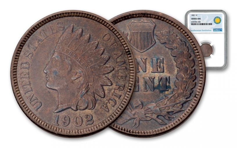 1892–1908 Indian Head Cent NGC Choice BU - Smithsonian Label