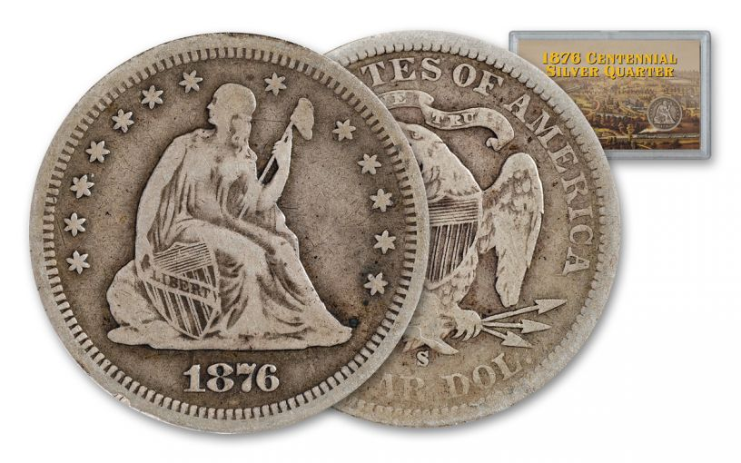 1876 Centennial Seated Liberty Silver Quarter Fine