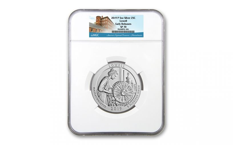2019 Lowell National Historic Park 5-oz Silver Quarter America the Beautiful NGC SP70 Early Releases