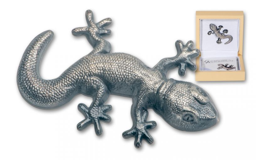 2018 Palau $5 1-oz Silver Gecko Shaped Antiqued BU
